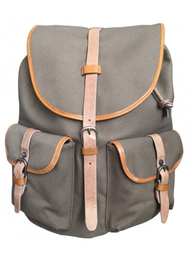 Computer backpack KASAI chic outdoor in cotton canvas and Italian cowhide leather