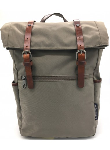 Computer backpack with folding cover in water-resistant canvas and leather - SHERPA